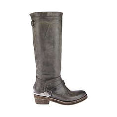 MCKINNY GREY LEATHER women's boot flat riding boot - Steve Madden