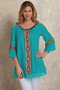 Embroidered Aztec Top from Soft Surroundings Curvy Outfits, Cool Outfits, Fashion Outfits, Kurti Neck Designs, Embroidered Clothes, Linen Dresses, Comfortable Outfits, Lace Tops, Clothing Patterns