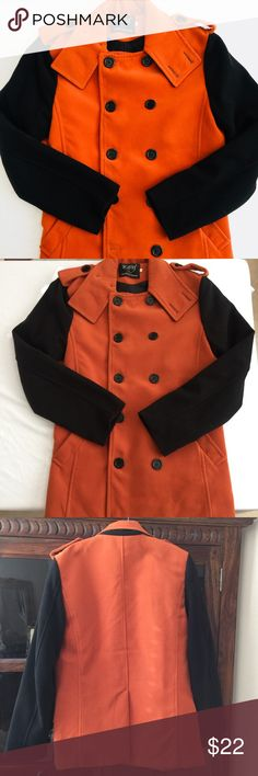 Men's orange and black fashion coat Preowned Men's fashion coat in orange and black. Size M. Jackets & Coats
