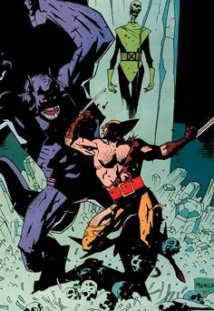 Wolverine vs S'ym - Mike Mignola Comic Book Artists, Comic Book Characters, Comic Artist, Comic Character, Comic Books Art, Character Design, Darkhorse Comics, Of Wolf And Man, Mike Mignola Art
