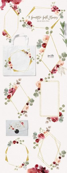 Bohemian Burgundy & Dusty Rose by Kim Thoa Designs on @creativemarket All elements are hand painted and carefully curated and digitize for your convenience. I try my best to make my sets as complete and as useful as possible. You will find many applications for the graphic set, from stationeries to packaging designs. [ad] #design #watercolor