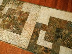 Quilted Batik Table Runner in Neutral Brown Grey and Taupe, Batik Table Quilt, Quilted Batik Table Mat, Modern Batik Table Cloth by SusiQuilts on Etsy
