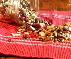 A delicious snack with toasted sunflower seeds, coconut, almond slices and dried cranberries.