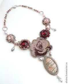 """Collar """"brote Tender"""" - de color rosa pálido, rosa, bordado de la gota, delicada decoración"""