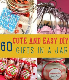 (link) 60 CUTE & EASY DIY GIFTS IN A JAR ~ Everyone loves something that's made by hands. We have listed 60 cute DIY gifts in a jar that are not only budget-friendly but also guaranteed to please. Diy Gifts In A Jar, Easy Diy Gifts, Mason Jar Gifts, Mason Jar Diy, Homemade Gifts, Cute Gifts, Gift Jars, Homemade Food, Homemade Christmas