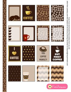 Free Printable Coffee Themed Planner Stickers for Erin Condren Life Planner {also available for The Happy planner}
