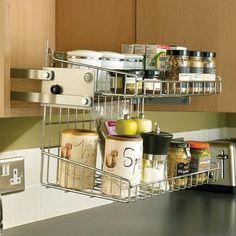 Smart hidden storage solution design that you can try in your home 30 Home Organization Hacks, Kitchen Organization, Kitchen Storage, Organizing, Mini Kitchen, New Kitchen, Pull Down Shelf, Kitchen Space Savers, Kitchen Pulls
