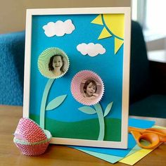 Perfect craft for spring or mother's day. Add child's picture to bottom of a cupcake liner to make a flower.