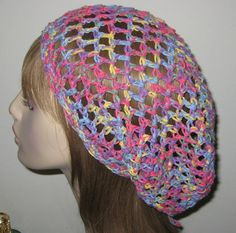Cotton Slouchy Beanie Crochet Hat Open Stitch by DeniseBlack