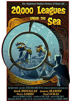 NEW Leagues Under The Sea movie poster by captaincrane Home Disney Movie, Disney Movie Posters, Movie Poster Art, Disney Movies, The Sea Movie, Nautilus Submarine, Disney Presents, Leagues Under The Sea, Peter Lorre