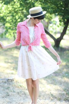 3 this look from the ModCloth Style Gallery! Cutest community ever. Kids Fashion, Fashion Outfits, Fashion Ideas, Cool Outfits, Summer Outfits, Gingham Shirt, Fashion Gallery, Stylish Girl, Vintage Shirts