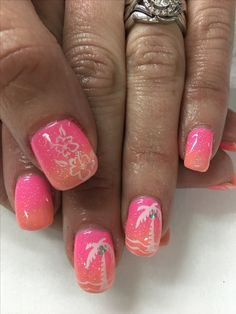 Tropical Vacation Summer Pink Peach Coral Ombré Palm Tree Sparkle Gel Nails