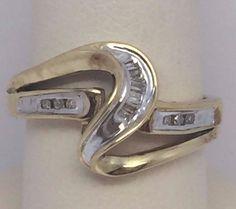 10K YELLOW GOLD LADIES DIAMOND FREEFORM RING .18CT SIZE 7