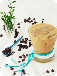 Coconut Iced Coffee - a beach in a glass as I like to call it. Think I'll tweek this recipe a bit. In general, it's my favorite summer non-alcoholic beverage!