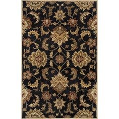 Jaipur Rugs Transitional Oriental Pattern Black/Taupe Wool Area Rug MY11 (Rectangle)