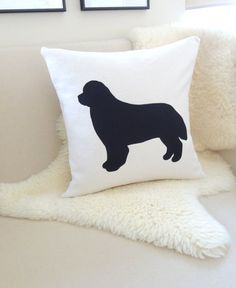 Newfoundland Dog Pillow Cover Custom Colors Ivory & by VixenGoods