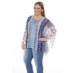 White Mark Women's Plus Breeze Poncho Top/Tunic