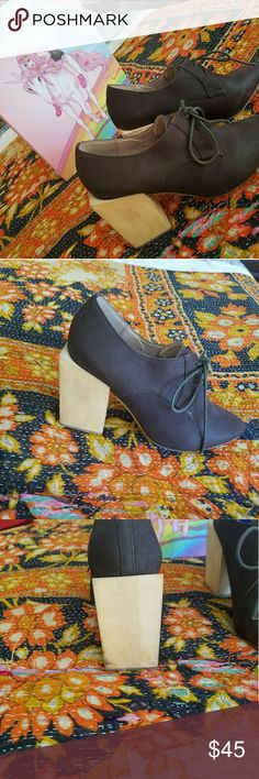Jeffery Campbell, bought at Free People Chocolate brown suede, raw wood block heel. Worn twice. Jeffery Campbell shoes Jeffrey Campbell Shoes Ankle Boots & Booties