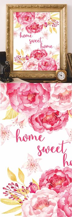 Home Sweet Home Wall Art Printable Prints Watercolor Digital file Art Print Home decor Wall decor Home decoration Printable Quote by AtticOfMemories #home