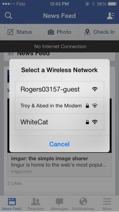 """Best wi-fi name ever. Is the password """"CoolCoolCoolCool""""?"""