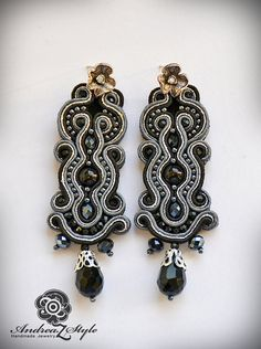 Hand embroided black and silver soutache earrings by AndreaZstyle