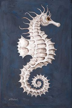 Seahorse. Melissa Barbieri —India Ink, Silver Leaf, Fresco