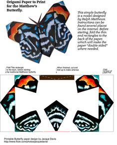 Origami Butterfly Paper to Print