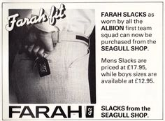 Its Throwback Thursday at Apache and here is a fantastic advert for heritage brand FARAH from the Brighton and Hove Albion Seagull shop! Still stocking Farah in store in #Horsham and online at http://www.apacheonline.co.uk/brands/Farah #ThrowbackThursday #TBT #AW16 #MensFashion