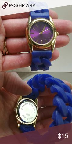 Blue rubber braided band watch with purple face Purple metalic face with rubber braided band.  Excellent used condition.   Will need a new battery. Accessories Watches
