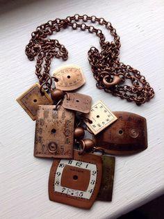 Ladies Womens Steampunk Antique Copper Watch Part Dial Face Bead Pendant Necklace - Lauren's Creations