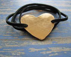 hammered copper heart wrap bracelet by juliethefish designs