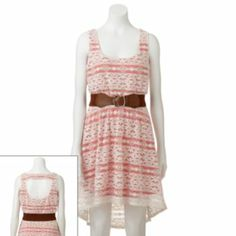 Trixxi Lace Hi-Low Dress - Juniors