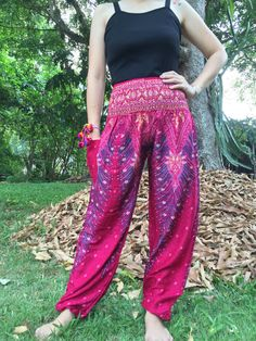 Thai Harem Pants Yoga Pants Drop Crotch Aladdin Pants Maxi Pants Boho Pants Gypsy Pants Genie Rompers Boho Pants Red Pink