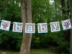 Baby Hoots Owl banner Blue and Brown via Etsy.