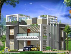 modern home design plan sq ft sq square yards bedroom american modern home design plan sq ft sq square yards bedroom american 2 Storey House Design, House Gate Design, Kerala House Design, Bungalow House Design, Best Modern House Design, Modern House Plans, Modern Houses, New Model House, House Design Pictures