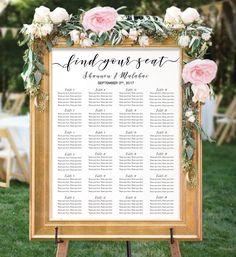 Calligraphy Wedding Seating Chart Template, Unique Seating Plan Digital Download, Find Your Seat Printable, Rustic Wedding Sign, ISP069 #etsy #weddings #decoration #isp069 #seatingchart #weddingtemplate #alphabeticalchart #seatingchartposter #weddingsigns #weddingdecoration