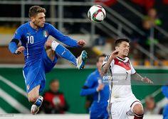 Domenico Berardi of Italy tackles Nico Schulz of Germany during the U21 International friendly...
