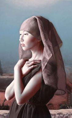 Artist: Ma Jing Hu, graduated Nanjing Art Institute in 2000 {contemporary figurative realism woman portrait painting detail}