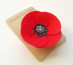 Retro Style Red Poppy Corsage Pin by madebylolly on Etsy,+£7.99