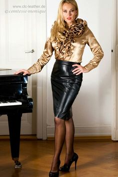 Black Leather Pencil Skirt Gold Satin Blouse Sheer Black Pantyhose and Black Stiletto high Heels Black Leather Pencil Skirt, Satin Bluse, Fetish Fashion, Glamour, Leather Dresses, Leather Skirts, Satin Skirt, Blouse And Skirt, Ruffle Blouse