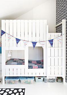 Lasten kerrossänky on kuin linna! Kid's bunk bed is like a castle!   Unelmien Talo&Koti Kuva: Camilla Hynynen Toimittaja: Jaana Tapio