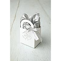 """Platinum Hearts Favor Boxes  Package Quantity: 12  Give your guests a favor to remember! These beautiful  boxes can hold the favor of your choice, be it almonds,  cashews or M Kit includes white boxes with handles  featuring the platinum foil intertwined hearts that  matches all the other Platinum Hearts products.  The Favor Tag shown in the photo is sold separately.  Contents not included  Dimensions: 3"""" x 3"""" x 2¼"""" - box, (handle height included: 4 5/8"""")."""