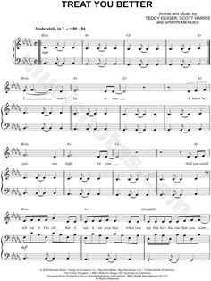 Print and download Treat You Better sheet music by Shawn Mendes. Sheet music arranged for Piano/Vocal/Chords, and Singer Pro in Bb Minor (transposable).