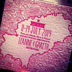 Bespoke letterpress save the date for a destination wedding in Ibiza. Printed in shocking pink onto a 425gsm board.