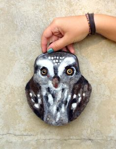 OWL Wet Felted  coin purse with bag frame metal by MSbluesky, $48.00