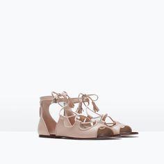 LEATHER ROMAN SANDAL-Flat sandals-Shoes-WOMAN | ZARA United States