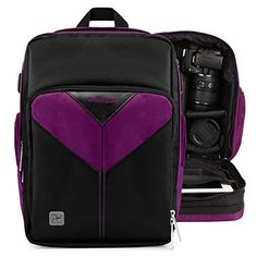 Introducing VanGoddy Sparta PURPLE BLACK Compact Backpack DSLR Camera  Tablet Case Bag for Canon Rebel EOS 700D 650D 600D 550D 500D. Great product and follow us for more updates!