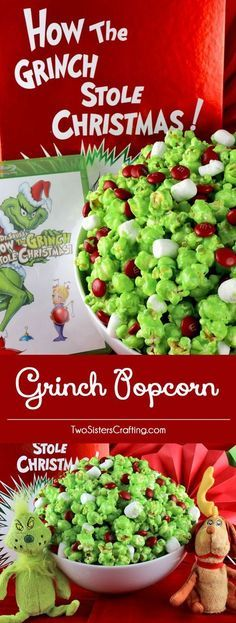 The Original Grinch Popcorn - a fun Christmas Treat that your family will love. Sweet, salty, crunchy, delicious, this Christmas dessert is so very easy to make. It would be a great How the Grinch Stole Christmas family movie night dessert or Christmas Pa Grinch Christmas Party, Christmas Movie Night, Christmas Sweets, Christmas Goodies, Christmas Baking, Christmas Parties, Grinch Party, Christmas Christmas, Grinch Snack