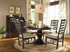 Get inspired by Traditional Dining Room Design photo by Wayfair. Wayfair lets you find the designer products in the photo and get ideas from thousands of other Traditional Dining Room Design photos. Black Round Dining Table, Round Pedestal Dining Table, Round Side Table, Dining Table Design, Dining Table In Kitchen, Wood Pedestal, Dining Room Furniture, Dining Rooms, Furniture Ideas