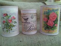 Table Centerpiec,e vintage can, table settings, candle, vintage wedding decor, shabby chic decor by VintageLizy